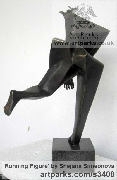 Bronze Figurative Abstract Modern or Contemporary sculpture statuary statuettes figurines sculpture by sculptor Snejana Simeonova titled: 'Running Figure (abstract Man sculpturettes)' - Artwork View 2