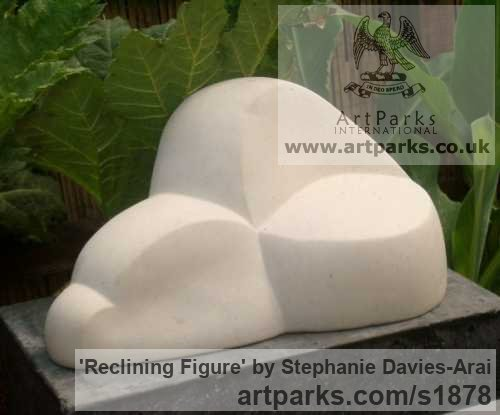Portland Stone Abstract Contemporary Modern Outdoor Outside Garden / Yard sculpture statuary sculpture by sculptor Stephanie Davies-Arai titled: 'Reclining Figure (abstract marble sculpture/statue Indoor and Inside)'