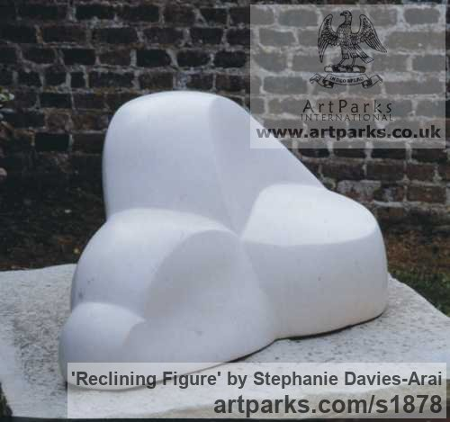 Portland Stone Abstract Contemporary or Modern Outdoor Outside Exterior Garden / Yard sculpture statuary sculpture by sculptor Stephanie Davies-Arai titled: 'Reclining Figure (abstract marble sculpture/statue Indoor and Inside)' - Artwork View 2