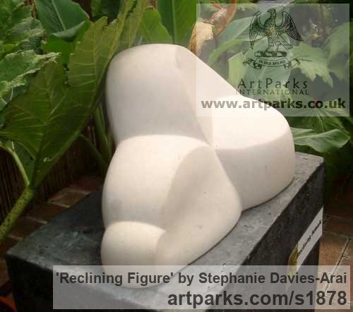 Portland Stone Abstract Contemporary or Modern Outdoor Outside Exterior Garden / Yard sculpture statuary sculpture by sculptor Stephanie Davies-Arai titled: 'Reclining Figure (abstract marble sculpture/statue Indoor and Inside)' - Artwork View 3