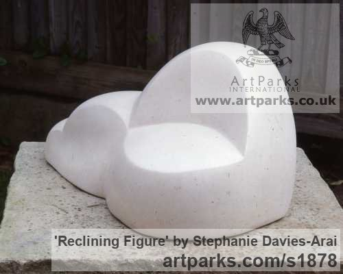 Portland Stone Abstract Contemporary or Modern Outdoor Outside Exterior Garden / Yard sculpture statuary sculpture by sculptor Stephanie Davies-Arai titled: 'Reclining Figure (abstract marble sculpture/statue Indoor and Inside)' - Artwork View 4
