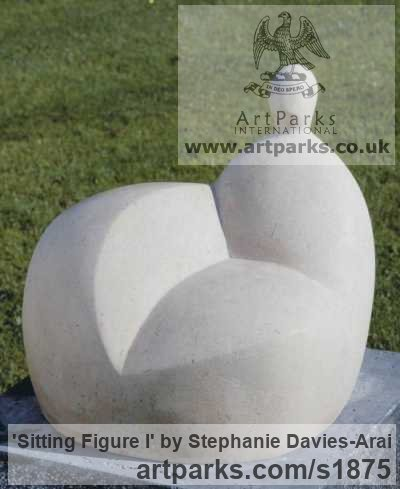 Portland Stone Garden Or Yard / Outside and Outdoor sculpture by sculptor Stephanie Davies-Arai titled: 'Sitting Figure I (Modern abstract after Moore sculpture/statue statuary)'