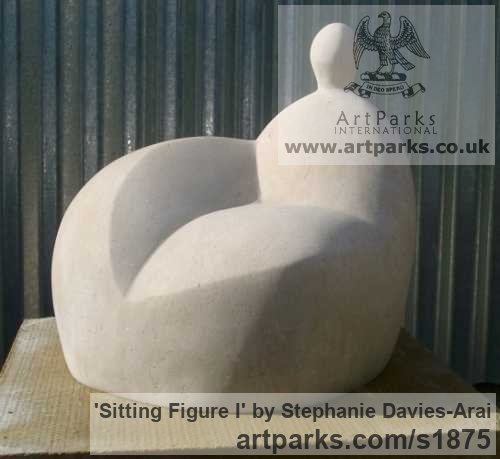 Portland Stone Garden Or Yard / Outside and Outdoor sculpture by sculptor Stephanie Davies-Arai titled: 'Sitting Figure I (Modern abstract after Moore sculpture/statue statuary)' - Artwork View 2