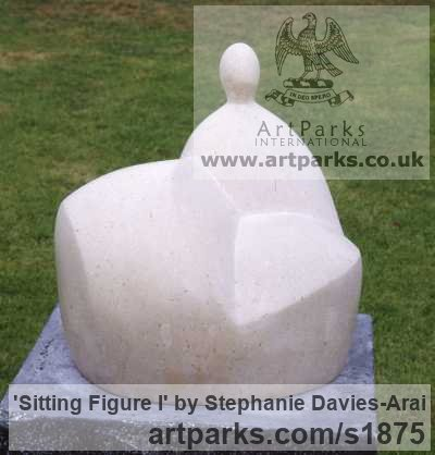 Portland Stone Garden Or Yard / Outside and Outdoor sculpture by sculptor Stephanie Davies-Arai titled: 'Sitting Figure I (Modern abstract after Moore sculpture/statue statuary)' - Artwork View 3