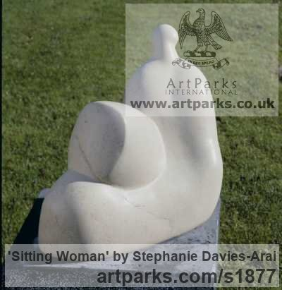 Portland Stone Abstract Contemporary Modern Outdoor Outside Garden / Yard sculpture statuary sculpture by sculptor Stephanie Davies-Arai titled: 'Sitting Woman (Calm abstract Reclining garden statuary/sculptures/statue)' - Artwork View 1