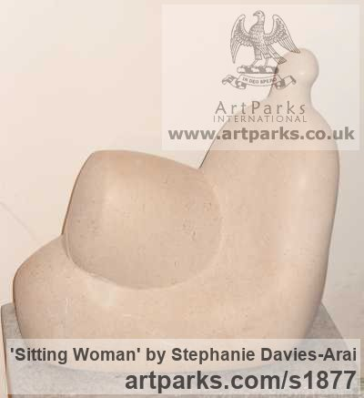 Portland Stone Abstract Contemporary Modern Outdoor Outside Garden / Yard sculpture statuary sculpture by sculptor Stephanie Davies-Arai titled: 'Sitting Woman (Calm abstract Reclining garden statuary/sculptures/statue)' - Artwork View 3