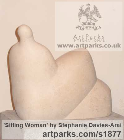 Portland Stone Abstract Contemporary Modern Outdoor Outside Garden / Yard sculpture statuary sculpture by sculptor Stephanie Davies-Arai titled: 'Sitting Woman (Calm abstract Reclining garden statuary/sculptures/statue)' - Artwork View 4