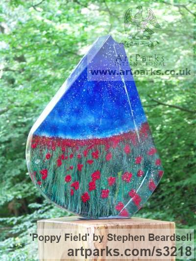 Sand cast glass, solid oak plinth Abstract Contemporary or Modern Outdoor Outside Exterior Garden / Yard sculpture statuary sculpture by sculptor Stephen Beardsell titled: 'Poppy Field (Glass Contemporary abstract Brightly coloured sculptures)' - Artwork View 2