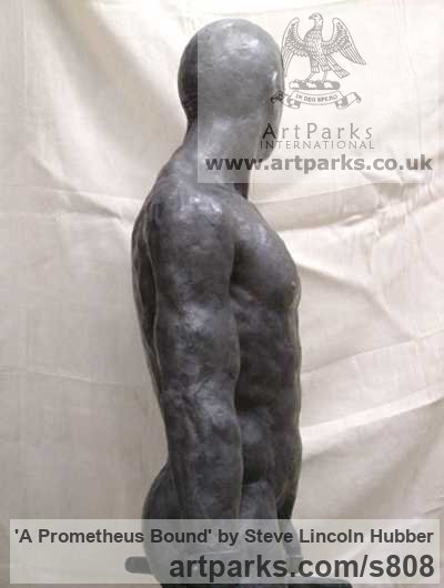 Cold cast iron / bronze Garden Or Yard / Outside and Outdoor sculpture by sculptor Steve Lincoln Hubber titled: 'A Prometheus Bound (Lifesize nude Chained Man statue/sculpture)' - Artwork View 3