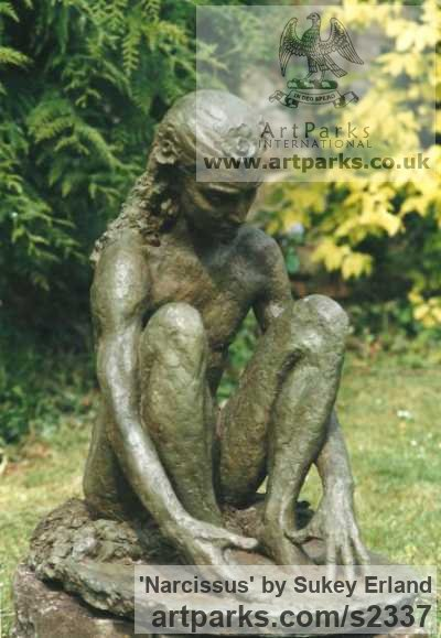 Bronze Resin Garden Or Yard / Outside and Outdoor sculpture by sculptor Sukey Erland titled: 'Narcissus (Sitting Male nude Seated garden sculpture)'