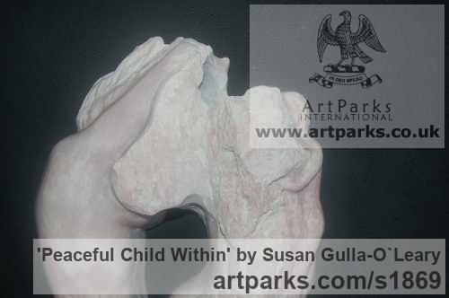 Carved Soap Stone Females Women Girls Ladies sculpture statuettes figurines sculpture by sculptor Susan Gulla-O`Leary titled: 'Peaceful Child Within (Contemporary Carved stone Mother and Child statue)' - Artwork View 3
