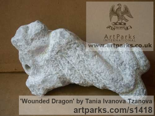Marble Abstract Contemporary or Modern Outdoor Outside Exterior Garden / Yard sculpture statuary sculpture by sculptor Tania Ivanova Tzanova titled: 'Wounded Dragon (abstract stone/marble garden Carving/sculptures/statue)'