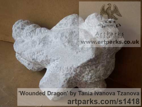 Marble Abstract Contemporary or Modern Outdoor Outside Exterior Garden / Yard sculpture statuary sculpture by sculptor Tania Ivanova Tzanova titled: 'Wounded Dragon (abstract stone/marble garden Carving/sculptures/statue)' - Artwork View 2
