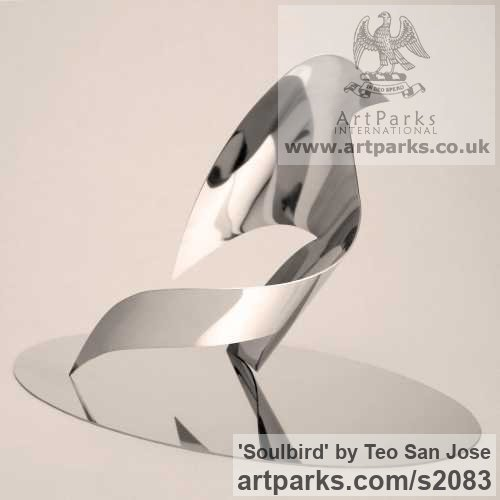 Stainless Steel Animal Abstract Contemporary Modern Stylised Minimalist sculpture by sculptor Teo San Jose titled: 'Soulbird (Large stainless Steel abstract Contemporary Dove statue/sculpture)'