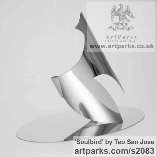 Stainless Steel Animal Abstract Contemporary Modern Stylised Minimalist sculpture by sculptor Teo San Jose titled: 'Soulbird (Large stainless Steel abstract Contemporary Dove statue/sculpture)' - Artwork View 2