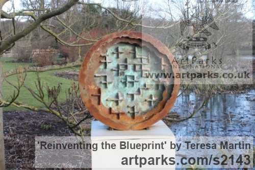 Iron and Marble Resin Garden Or Yard / Outside and Outdoor sculpture by sculptor Teresa Martin titled: 'Reinventing the Blueprint (Circular abstract statue)'
