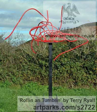 Welded mild steel Garden Or Yard / Outside and Outdoor sculpture by sculptor Terry Ryall titled: 'Rollin an Tumblin (Red Coloured abstract garden Yard Metal statues)'