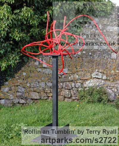 Welded mild steel Garden Or Yard / Outside and Outdoor sculpture by sculptor Terry Ryall titled: 'Rollin an Tumblin (Red Coloured abstract garden Yard Metal statues)' - Artwork View 3