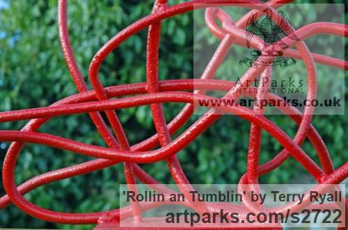 Welded mild steel Garden Or Yard / Outside and Outdoor sculpture by sculptor Terry Ryall titled: 'Rollin an Tumblin (Red Coloured abstract garden Yard Metal statues)' - Artwork View 4