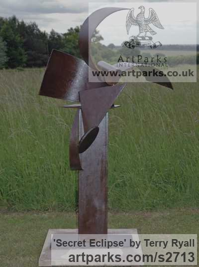Mild Steel Garden Or Yard / Outside and Outdoor sculpture by sculptor Terry Ryall titled: 'Secret Eclipse (Steel Contemporary abstract Outdoor Welded statues)' - Artwork View 1