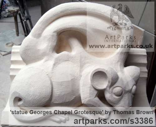 Lime Stone Grotesque Sculptures / Statues / figurines to order Commission Custom Bespoke sculpture by sculptor Thomas Brown titled: 'statue Georges Chapel Grotesque (Carved stone statue/sculptures commission)'