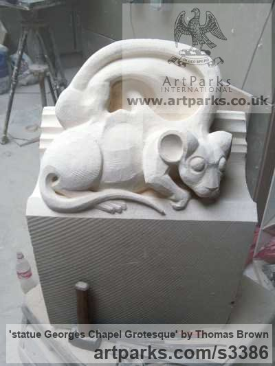 Lime Stone Grotesque Sculptures / Statues / figurines to order Commission Custom Bespoke sculpture by sculptor Thomas Brown titled: 'statue Georges Chapel Grotesque (Carved stone statue/sculptures commission)' - Artwork View 2