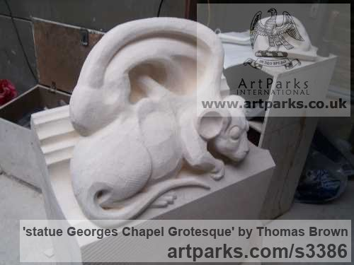 Lime Stone Grotesque Sculptures / Statues / figurines to order Commission Custom Bespoke sculpture by sculptor Thomas Brown titled: 'statue Georges Chapel Grotesque (Carved stone statue/sculptures commission)' - Artwork View 3
