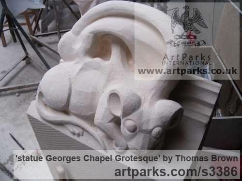 Lime Stone Grotesque Sculptures / Statues / figurines to order Commission Custom Bespoke sculpture by sculptor Thomas Brown titled: 'statue Georges Chapel Grotesque (Carved stone statue/sculptures commission)' - Artwork View 4