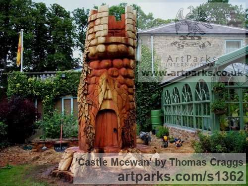 Wood Carved Abstract Contemporary Modern sculpture carving sculpture by sculptor Thomas Craggs titled: 'Castle Mcewan (Big Carved Tree Stump Carving statue)'