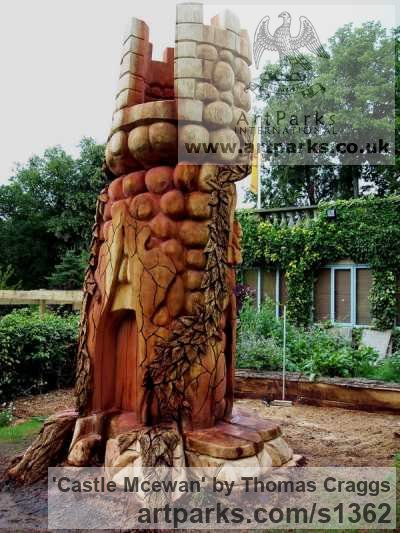 Wood Carved Abstract Contemporary Modern sculpture carving sculpture by sculptor Thomas Craggs titled: 'Castle Mcewan (Big Carved Tree Stump Carving statue)' - Artwork View 3