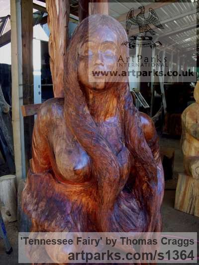 Wood Fantasy sculpture or sculpture by sculptor Thomas Craggs titled: 'Tennessee Fairy (Carved Tree Stump Customised statue)'