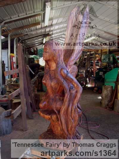 Wood Fantasy sculpture or sculpture by sculptor Thomas Craggs titled: 'Tennessee Fairy (Carved Tree Stump Customised statue)' - Artwork View 2