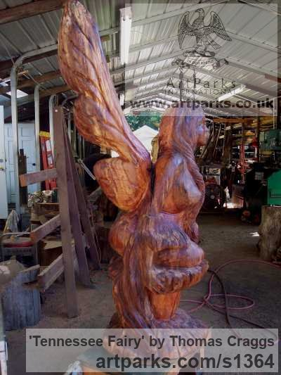 Wood Fantasy sculpture or sculpture by sculptor Thomas Craggs titled: 'Tennessee Fairy (Carved Tree Stump Customised statue)' - Artwork View 3