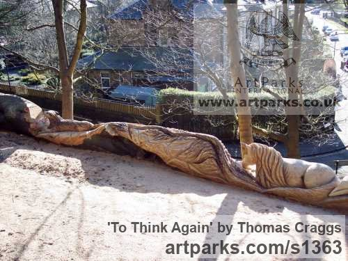 Wood Garden Or Yard / Outside and Outdoor sculpture by sculptor Thomas Craggs titled: 'To think Again (Carved Tree Trunk Fantassy statues)' - Artwork View 4