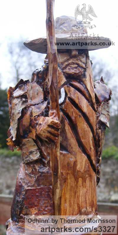 Birch with Birch Bark Detailing Garden Or Yard / Outside and Outdoor sculpture by sculptor Thormod Morrisson titled: 'ODHINN (Primitive Carved Wood Norse War God carving sculpture)' - Artwork View 1