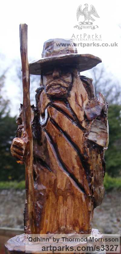 Birch with Birch Bark Detailing Garden Or Yard / Outside and Outdoor sculpture by sculptor Thormod Morrisson titled: 'ODHINN (Primitive Carved Wood Norse War God carving sculpture)' - Artwork View 2