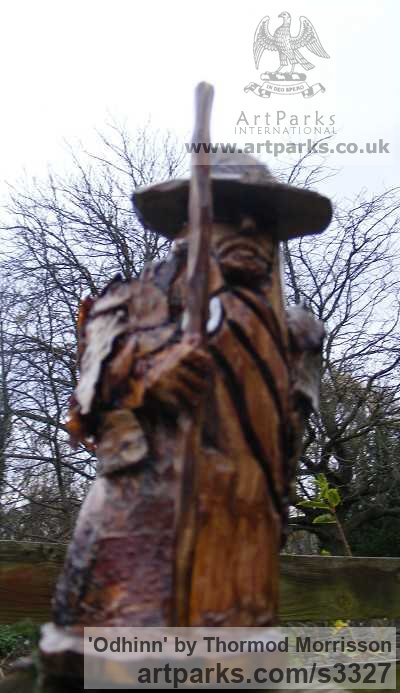 Birch with Birch Bark Detailing Garden Or Yard / Outside and Outdoor sculpture by sculptor Thormod Morrisson titled: 'ODHINN (Primitive Carved Wood Norse War God carving sculpture)' - Artwork View 3