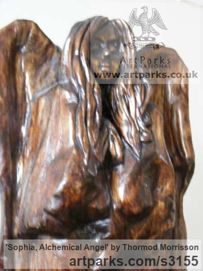 Sycamore Females Women Girls Ladies sculpture statuettes figurines sculpture by sculptor Thormod Morrisson titled: 'SOPHIA, ALCHEMICAL ANGEL (Primitive Angel Wood Carving statue Idol)' - Artwork View 2