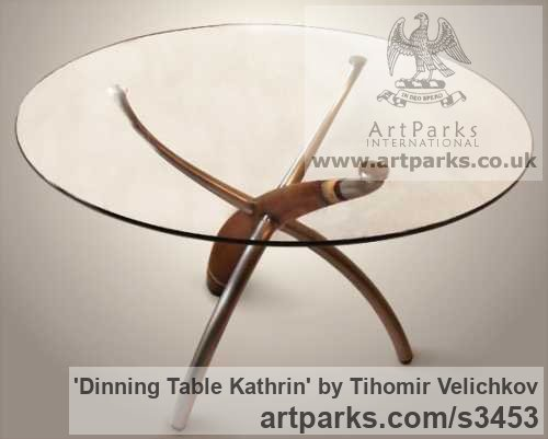 Walnut-tree, aluminium, steel, glass Beautifully Useful Functional sculpture by sculptor Tihomir Velichkov titled: 'Dinning Table Kathrin (sculpted Legs Wood and Glass)'