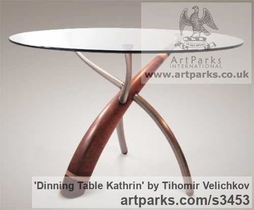 Walnut-tree, aluminium, steel, glass Beautifully Useful Functional sculpture by sculptor Tihomir Velichkov titled: 'Dinning Table Kathrin (sculpted Legs Wood and Glass)' - Artwork View 2