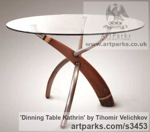 Walnut-tree, aluminium, steel, glass Beautifully Useful Functional sculpture by sculptor Tihomir Velichkov titled: 'Dinning Table Kathrin (sculpted Legs Wood and Glass)' - Artwork View 3