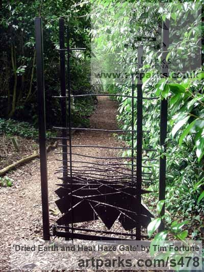 Mild Steel Garden Or Yard / Outside and Outdoor sculpture by sculptor Tim Fortune titled: 'Dried Earth and Heat Haze Gate (Steel Ornamental Gate sculpture/statue)'