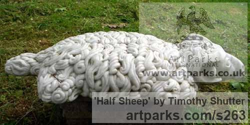 Marble Garden Or Yard / Outside and Outdoor sculpture by sculptor Timothy Shutter titled: 'Half Sheep' - Artwork View 2