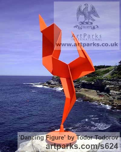 Steel Abstract Contemporary Modern Outdoor Outside Garden / Yard Sculpture  Statuary Sculpture By Sculptor Todor Todorov