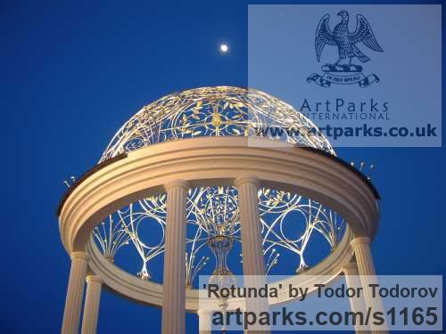 Stainless steel, bronze Abstract Contemporary or Modern Outdoor Outside Exterior Garden / Yard sculpture statuary sculpture by sculptor Todor Todorov titled: 'Rotunda (Hemispherical Decorative Dome Roof statues)'