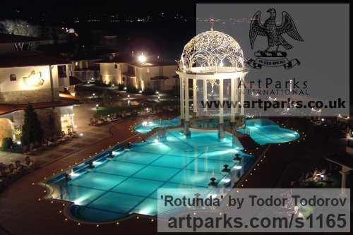 Stainless steel, bronze Abstract Contemporary or Modern Outdoor Outside Exterior Garden / Yard sculpture statuary sculpture by sculptor Todor Todorov titled: 'Rotunda (Hemispherical Decorative Dome Roof statues)' - Artwork View 2