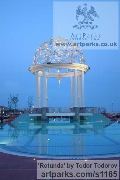 Stainless steel, bronze Abstract Contemporary or Modern Outdoor Outside Exterior Garden / Yard sculpture statuary sculpture by sculptor Todor Todorov titled: 'Rotunda (Hemispherical Decorative Dome Roof statues)' - Artwork View 4