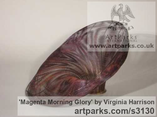 Bronze Varietal cross section of Floral, Fruit and Plantlife sculpture by sculptor Virginia Harrison titled: 'Magenta Morning Glory (Woven Wire abstract statue)'