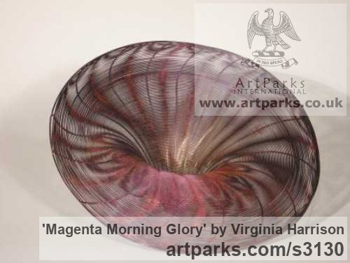 Bronze Varietal cross section of Floral, Fruit and Plantlife sculpture by sculptor Virginia Harrison titled: 'Magenta Morning Glory (Woven Wire abstract statue)' - Artwork View 2