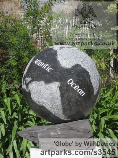 Kilkenny Limestone Garden Or Yard / Outside and Outdoor sculpture by sculptor Will Davies titled: 'Globe (Limestone World Map Globe Carving statue)' - Artwork View 1
